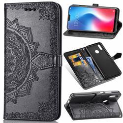 Embossing Imprint Mandala Flower Leather Wallet Case for Vivo V9 - Black