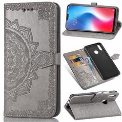 Embossing Imprint Mandala Flower Leather Wallet Case for Vivo V9 - Gray