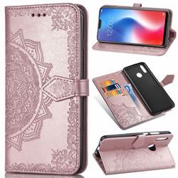 Embossing Imprint Mandala Flower Leather Wallet Case for Vivo V9 - Rose Gold