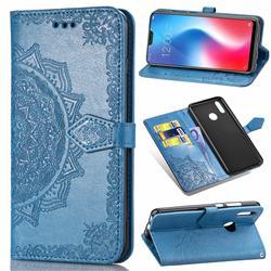 Embossing Imprint Mandala Flower Leather Wallet Case for Vivo V9 - Blue