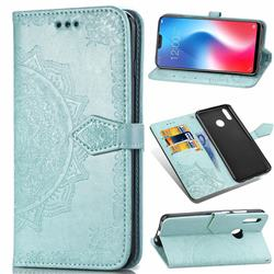 Embossing Imprint Mandala Flower Leather Wallet Case for Vivo V9 - Green