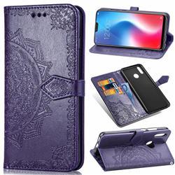 Embossing Imprint Mandala Flower Leather Wallet Case for Vivo V9 - Purple