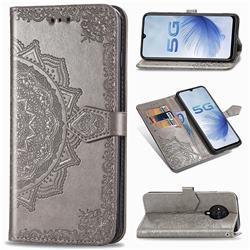 Embossing Imprint Mandala Flower Leather Wallet Case for Vivo S6 5G - Gray