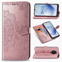 Embossing Imprint Mandala Flower Leather Wallet Case for Vivo S6 5G - Rose Gold