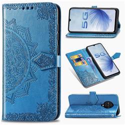 Embossing Imprint Mandala Flower Leather Wallet Case for Vivo S6 5G - Blue