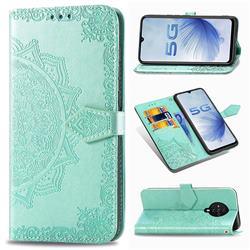 Embossing Imprint Mandala Flower Leather Wallet Case for Vivo S6 5G - Green