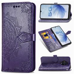 Embossing Imprint Mandala Flower Leather Wallet Case for Vivo S6 5G - Purple
