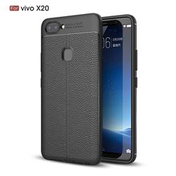 Luxury Auto Focus Litchi Texture Silicone TPU Back Cover for Vivo X20 - Black