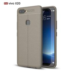 Luxury Auto Focus Litchi Texture Silicone TPU Back Cover for Vivo X20 - Gray