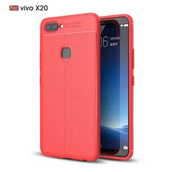 Luxury Auto Focus Litchi Texture Silicone TPU Back Cover for Vivo X20 - Red