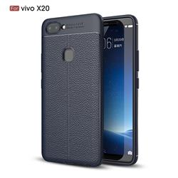 Luxury Auto Focus Litchi Texture Silicone TPU Back Cover for Vivo X20 - Dark Blue