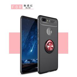Auto Focus Invisible Ring Holder Soft Phone Case for Vivo X20 - Black Red