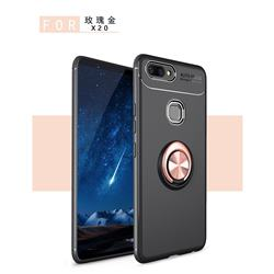 Auto Focus Invisible Ring Holder Soft Phone Case for Vivo X20 - Black Gold