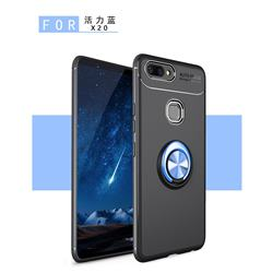 Auto Focus Invisible Ring Holder Soft Phone Case for Vivo X20 - Black Blue