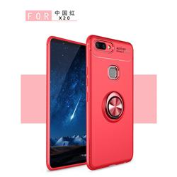 Auto Focus Invisible Ring Holder Soft Phone Case for Vivo X20 - Red