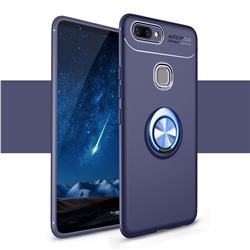Auto Focus Invisible Ring Holder Soft Phone Case for Vivo X20 - Blue