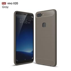 Luxury Carbon Fiber Brushed Wire Drawing Silicone TPU Back Cover for Vivo X20 - Gray
