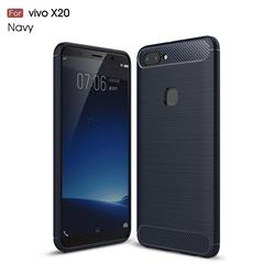 Luxury Carbon Fiber Brushed Wire Drawing Silicone TPU Back Cover for Vivo X20 - Navy