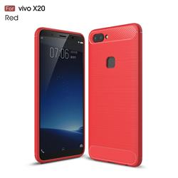 Luxury Carbon Fiber Brushed Wire Drawing Silicone TPU Back Cover for Vivo X20 - Red