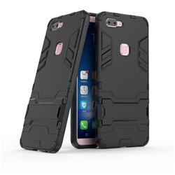 Armor Premium Tactical Grip Kickstand Shockproof Dual Layer Rugged Hard Cover for Vivo X20 - Black