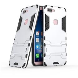 Armor Premium Tactical Grip Kickstand Shockproof Dual Layer Rugged Hard Cover for Vivo X20 - Silver