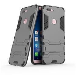 Armor Premium Tactical Grip Kickstand Shockproof Dual Layer Rugged Hard Cover for Vivo X20 - Gray