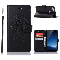 Intricate Embossing Owl Campanula Leather Wallet Case for Vivo X20 - Black