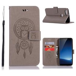 Intricate Embossing Owl Campanula Leather Wallet Case for Vivo X20 - Grey