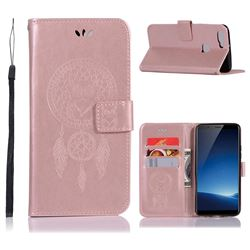 Intricate Embossing Owl Campanula Leather Wallet Case for Vivo X20 - Rose Gold