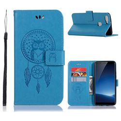 Intricate Embossing Owl Campanula Leather Wallet Case for Vivo X20 - Blue
