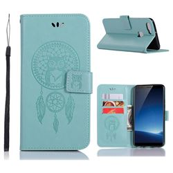 Intricate Embossing Owl Campanula Leather Wallet Case for Vivo X20 - Green