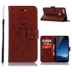 Intricate Embossing Owl Campanula Leather Wallet Case for Vivo X20 - Brown