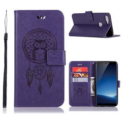 Intricate Embossing Owl Campanula Leather Wallet Case for Vivo X20 - Purple