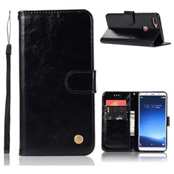 Luxury Retro Leather Wallet Case for Vivo X20 - Black