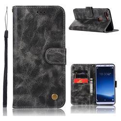 Luxury Retro Leather Wallet Case for Vivo X20 - Gray