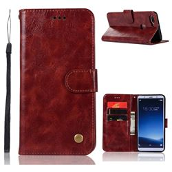 Luxury Retro Leather Wallet Case for Vivo X20 - Wine Red