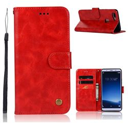 Luxury Retro Leather Wallet Case for Vivo X20 - Red
