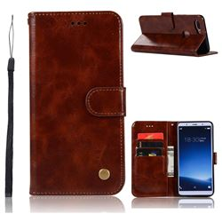 Luxury Retro Leather Wallet Case for Vivo X20 - Brown