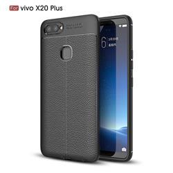 Luxury Auto Focus Litchi Texture Silicone TPU Back Cover for Vivo X20 Plus - Black