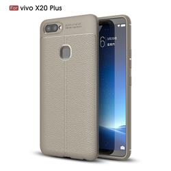 Luxury Auto Focus Litchi Texture Silicone TPU Back Cover for Vivo X20 Plus - Gray
