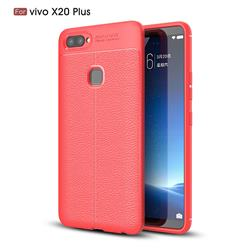 Luxury Auto Focus Litchi Texture Silicone TPU Back Cover for Vivo X20 Plus - Red
