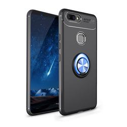 Auto Focus Invisible Ring Holder Soft Phone Case for Vivo X20 Plus - Black Blue