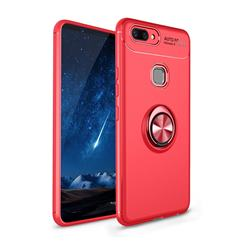 Auto Focus Invisible Ring Holder Soft Phone Case for Vivo X20 Plus - Red