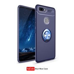 Auto Focus Invisible Ring Holder Soft Phone Case for Vivo X20 Plus - Blue