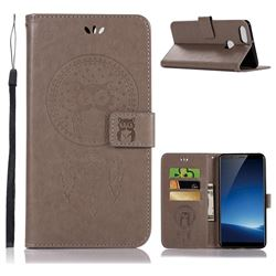 Intricate Embossing Owl Campanula Leather Wallet Case for Vivo X20 Plus - Grey