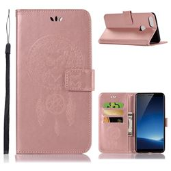 Intricate Embossing Owl Campanula Leather Wallet Case for Vivo X20 Plus - Rose Gold