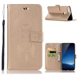 Intricate Embossing Owl Campanula Leather Wallet Case for Vivo X20 Plus - Champagne