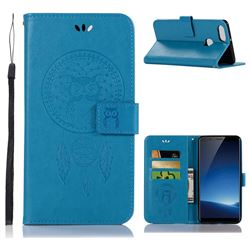 Intricate Embossing Owl Campanula Leather Wallet Case for Vivo X20 Plus - Blue
