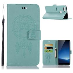 Intricate Embossing Owl Campanula Leather Wallet Case for Vivo X20 Plus - Green