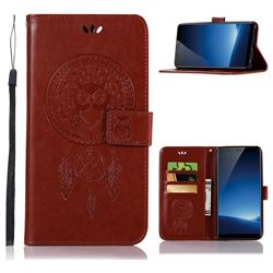 Intricate Embossing Owl Campanula Leather Wallet Case for Vivo X20 Plus - Brown